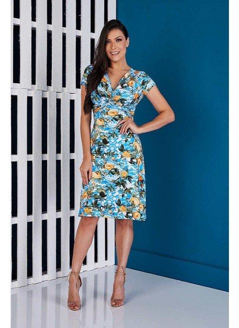 vestido azul evase estampado tata martello ta118055 frente