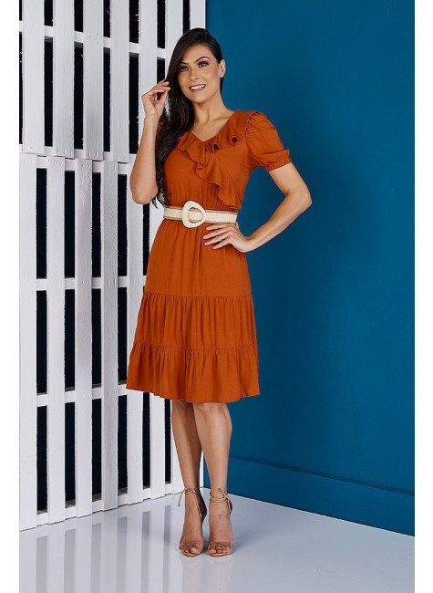 vestido viscolinho canela babados tata martello ta138132 frente