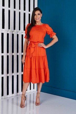 vestido viscolinho laranja babados tata martello ta460483 frente