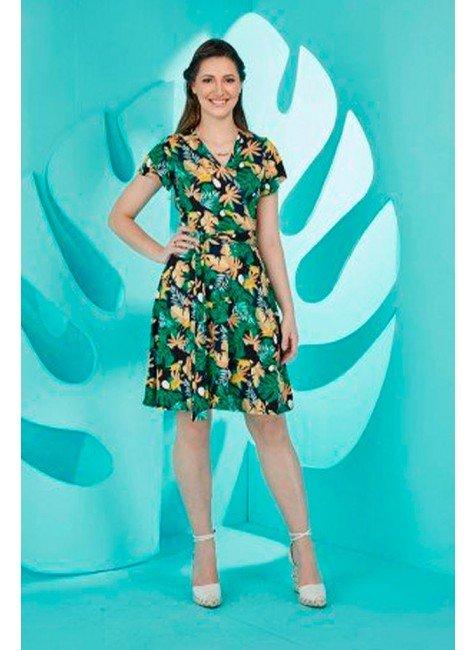 vestido gode transpassado azul marinho tata martello ta419232 frente