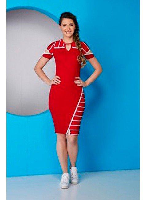 vestido tubinho vermelho detalhes em branco tata martello ta615586 frente