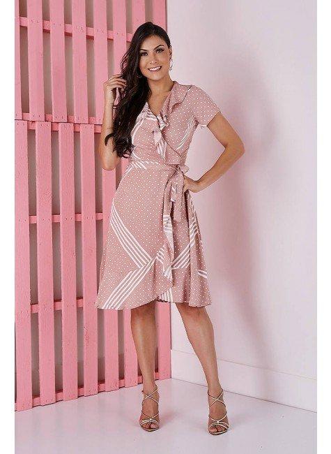 vestido transpassado rose com poas e listras tata martello 5205rsl frente