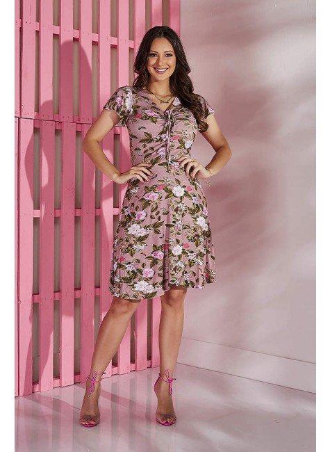 vestido nude floral em malha tata martello tm5170n frente