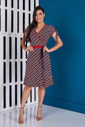 vestido transpassado estampas geometricas vermelho tata martello ta163506 frente