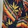 vestido casual tata martello viscolycra manga curta transpassado azul marinho tropical estampa folhagem geometrica frente baixo detalhe