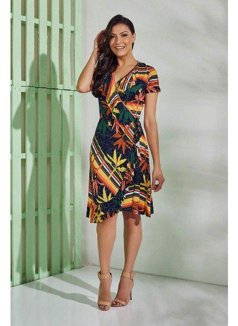 vestido casual tata martello viscolycra manga curta transpassado azul marinho tropical estampa folhagem geometrica frente