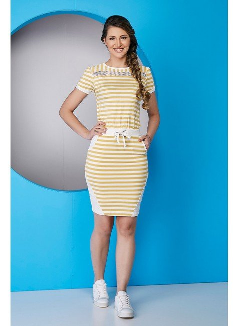 vestido casual malha viscolycra tata martello malha listrado amarelo ta147160 frente