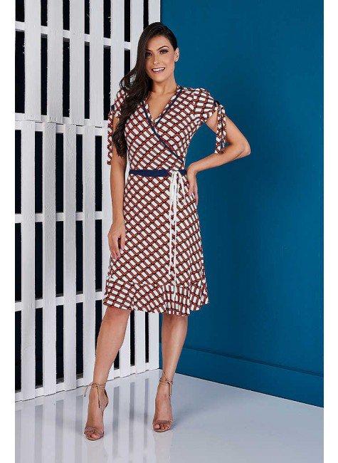 vestido transpassado estampas geometricas azul marinho tata martello ta721118 frente