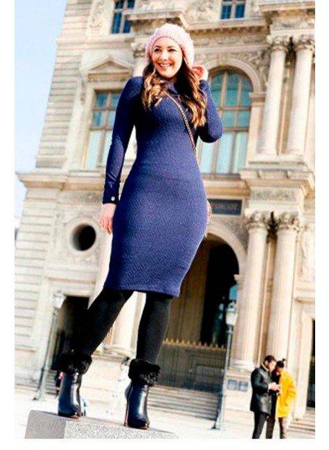 vestido tubinho azul marinho em tricot tata martello tm4116az frente