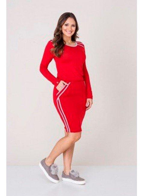 vestido vermelho com cinza em viscolycra tata martello tm4083vm frente