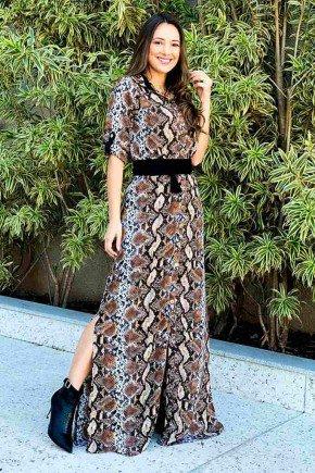 vestido viscose casual tata martello animal print marrom ta768508 frente