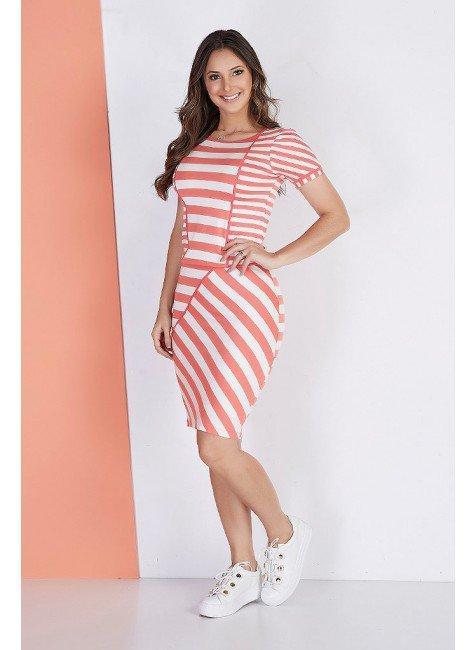 vestido casual malha listrado com recortes rosa tata martello ta240864 frente