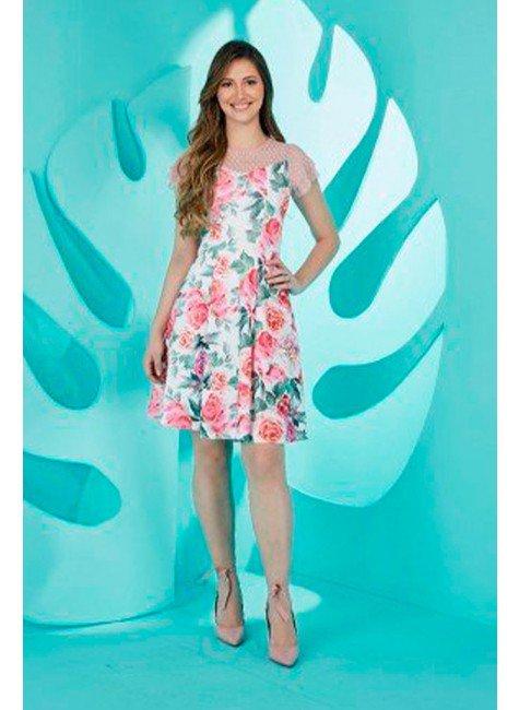 vestido gode floral branco com tule tata martello ta133497 frente