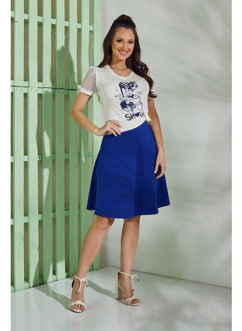 conjunto malha viscolycra tata martello casual cintura alta gode manga curta tradicional azul creme estampa love shoes bic frente