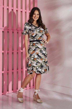 vestido floral preto com babados tata martello tm5157pr frente