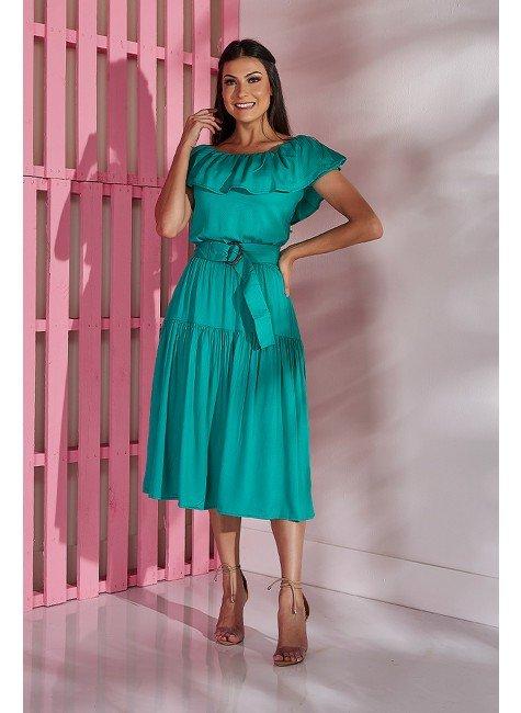 vestido liso verde com babados tata martello tm5210v frente