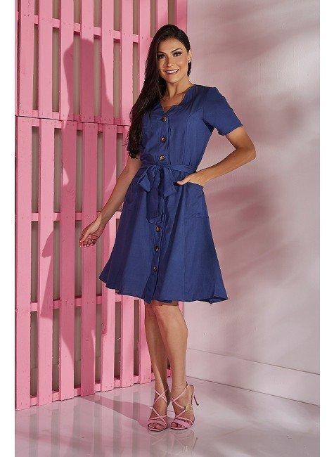 vestido evase azul marinho em viscolinho tata martello tm5037az frente