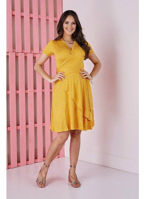 vestido amarelo poas em malha tata martello 5181am frente