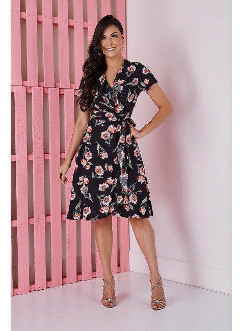 vestido transpassado preto com florais tata martello 5205pr frente
