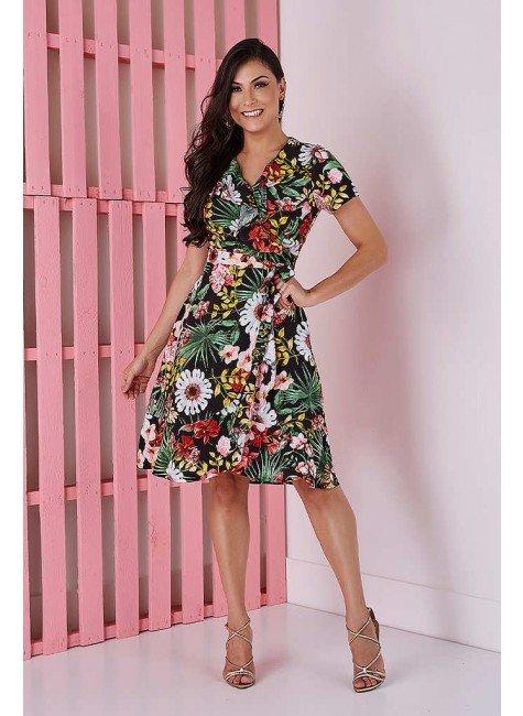 vestido transpassado preto estampa floral tata martello 5205pt frente