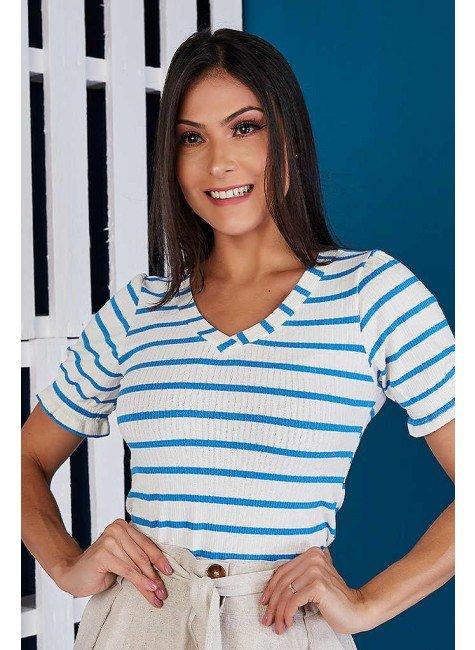 blusa canelada listrada azul tata martello ta576302 frente